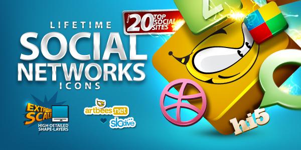 300 iconos de redes sociales